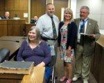 (l-r) Carolyn Schwebel, AH Borough Administrator Adam Hubeny, Jane Reynolds, Mayor Fred Rast